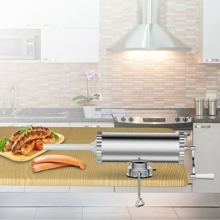 Costway 3L Manual Sausage Stuffer Maker Meat Filler Machine w/ Suction Base Commercial - Sliver