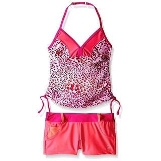 Free Country Girls' Sparkling Sea Halter Tankini Swimsuit Set Pink Crush Size 10 - pink crush/hot pink