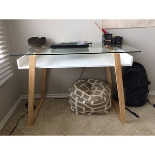 Poly and Bark Segovia Glass Top Desk