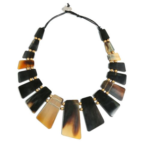 Buffalo Horn Boho Fan Bib Statement Necklace Woman Gold Plated Ball - 22