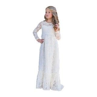 Little Girls Ivory Long Sleeve Ruffle Bottom Maybelle Flower Girl Dress