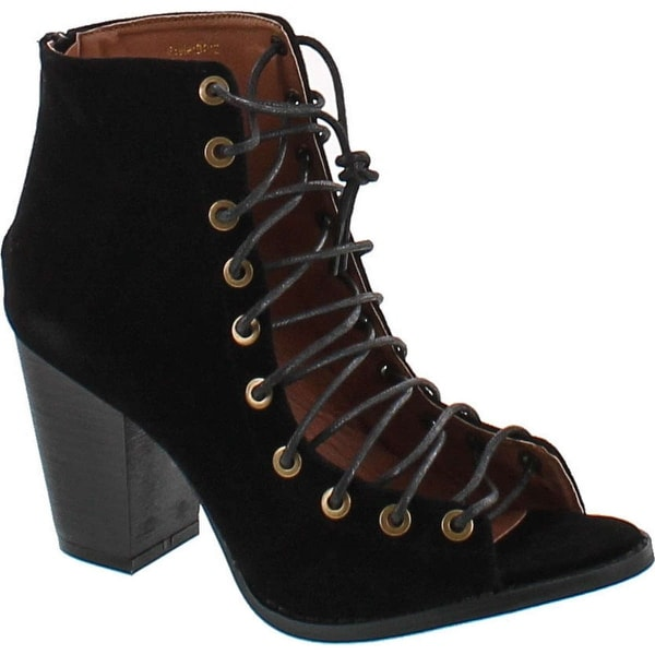 Yoki Brie Women's Lace Up Stacked Heel Peep Toe Ankle Booties Sandals