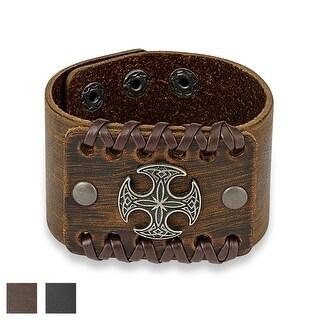 Round Celtic Cross Center Adjustable Leather Bracelet (Sold Ind.)