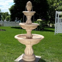 Sunnydaze 3-Tier Cornucopia Outdoor Backyard Garden Water Fountain - 61-Inch