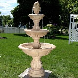 Sunnydaze 3-Tier Cornucopia Outdoor Backyard Garden Water Fountain - 61-Inch