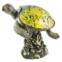 Mosaic Green Glass Swimming Sea Turtle Accent Lamp
