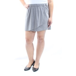 KENSIE $59 Womens New 1045 Gray Faux Suede Mini A-Line Casual Skirt XL B+B