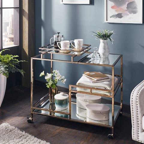 Deblina Champagne Gold and Mirror Bar Cart by iNSPIRE Q Bold - Bar Cart