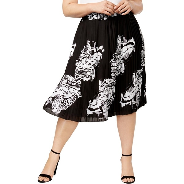 f9868cf5bbe Melissa McCarthy Seven7 Womens Plus Pleated Skirt Pleated Printed - 0X