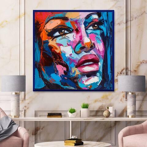 Designart 'Colorful Fantasy Portrait of A Young Woman III' Modern Framed Canvas Wall Art Print