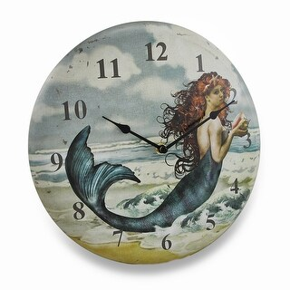 Pretty Mermaid On The Beach Weathered Finish Metal Wall Clock