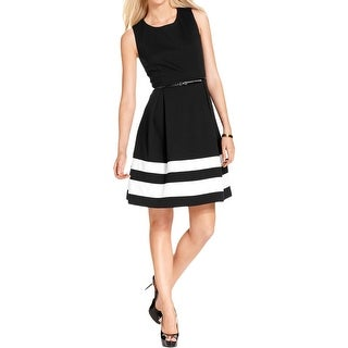 Calvin Klein Womens Wear to Work Dress Striped Pleated