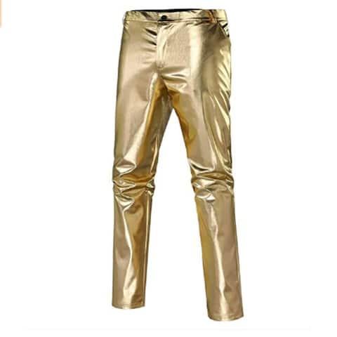 Mens Slim Fit Leather Pants Stretch Fashion Casual Faux Metallic Shiny Nightclub Straight Leg Trousers