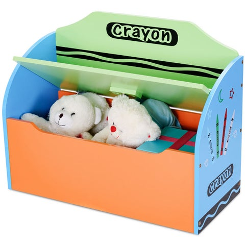 Gymax Crayon Themed Wood Toy Storage Box and Bench for Kids Toddler Children Colorful