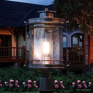 "Luxury MidCentury Modern Outdoor Post Light, 19.5""H x 10.5""W, with Craftsman Style, Black Silk Finish"