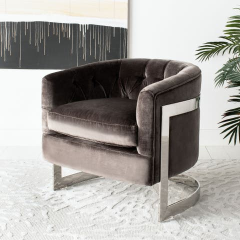 Safavieh Couture Zealand Shale Grey Velvet Commercial Grade Chair