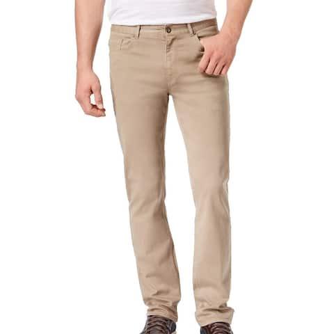 DKNY Mens Chino Pant Beige Size 38x32 St Marks Slim Straight Leg Stretch