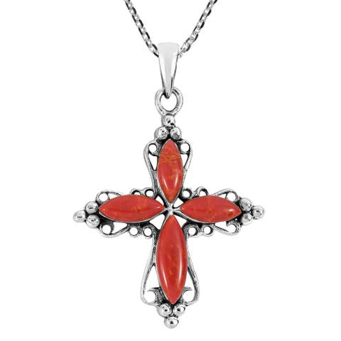 Handmade Stone Cross Sterling Silver Necklace (Thailand)