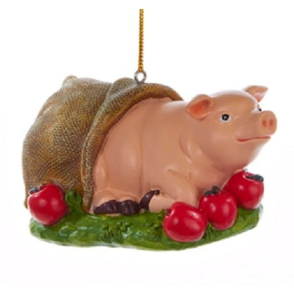 "3"" Decorative Pig In A Blanket Farm Animal Christmas Ornament"