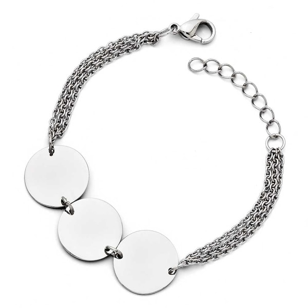 Chisel Stainless Steel Polished Circle with 1in ext. Bracelet