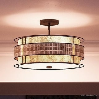 "Luxury Art Deco Semi-Flush Ceiling Light, 12""H x 16""W, with Moroccan Style, Copper Revival Finish"