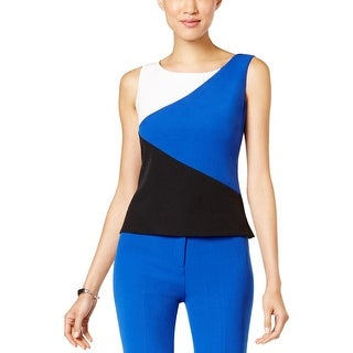 Kasper Womens Shell Colorblock Sleeveless