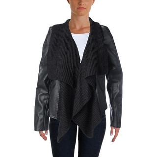 BB Dakota Womens Faux Leather Knit Trim Jacket