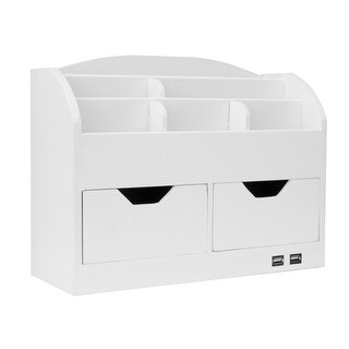 All-in-One USB charging 8 Compartments Desk Organizer - White