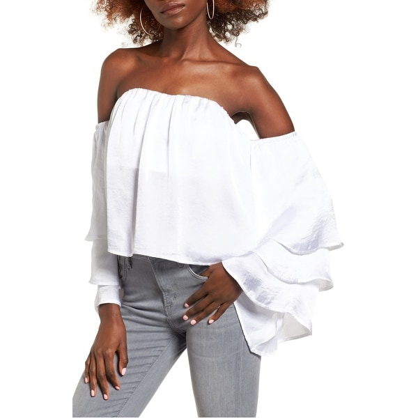 420c19a8861a0 Shop 4Si3Nna White Women s Size Large L Satin Tiered Bell-Sleeve Blouse -  Free Shipping On Orders Over  45 - Overstock - 22437805