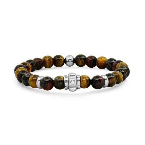 Men's tiger eye beaded bracelet and stainless steel stretch bracelet