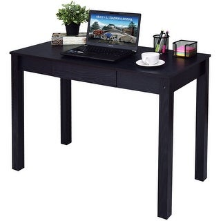 Costway Black Computer Desk Work Station Writing Table Home Office Furniture W/Drawer