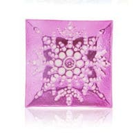 "6.5"" Square Pink Decorative Glass Christmas Plate with White Iridescent Snowflake Design"