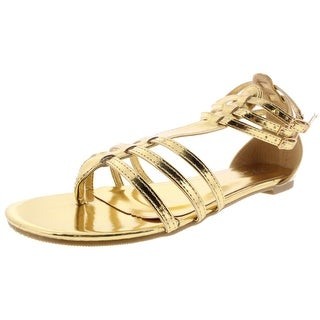 Ellie Shoes Womens Rome Gladiator Sandals Metallic Buckle - 8 medium (b,m)