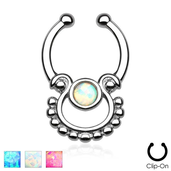Single Opal Non-Piercing Septum Hanger (Sold Individually)