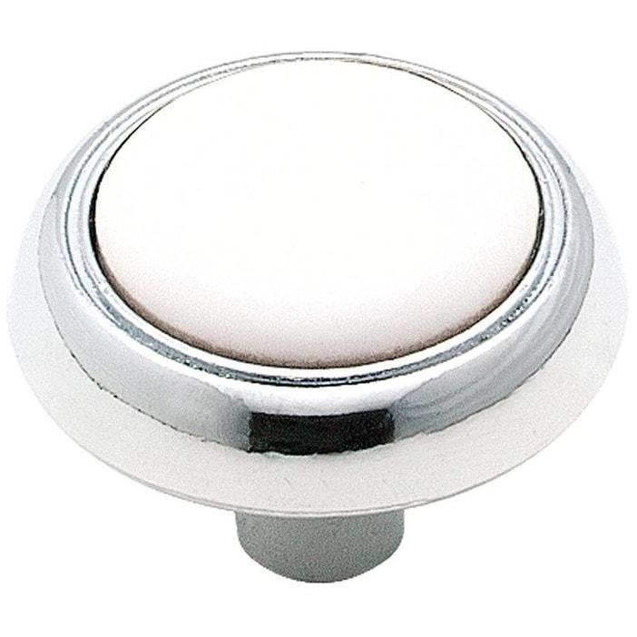 Amerock 262WCH Allison Cabinet Round Knob, 1-1/4, White/Chrome