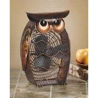 "13"" Unique Hand Sculpted Wise Owl Table Top Figure Fan"