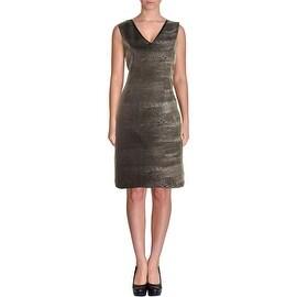 T Tahari Womens Carly Printed V-Neck Wear to Work Dress