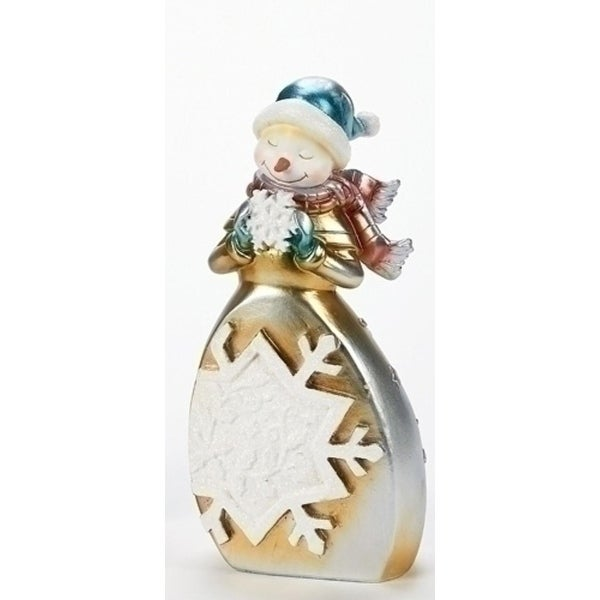 """8"""" Gold and Silver Whimsical Snowman with Snowflake Christmas Figure"""
