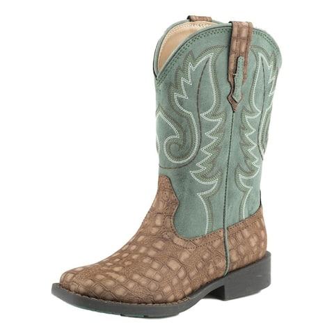 Roper Western Boots Boy Cowboy Gator Pull On Brown
