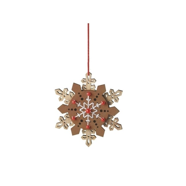 "5"" Alpine Chic Brown, Red and White Country Rustic Style Snowflake Christmas Ornament"