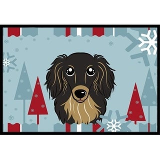 Carolines Treasures BB1709MAT Winter Holiday Longhair Black And Tan Dachshund Indoor & Outdoor Mat 18 x 27 in.