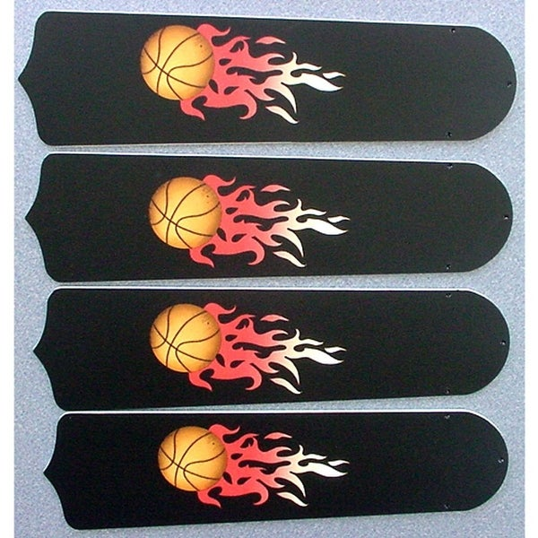 Flaming Basketballs Custom Designer 42in Ceiling Fan Blades Set - Multi
