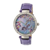 Bertha Mia Women's Quartz Watch, Mother of Pearl Dial, Genuine Leather Band