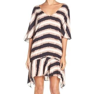 Vix NEW Brown Womens Size Medium M Striped Tie-Dye Swimwear Cover-Up