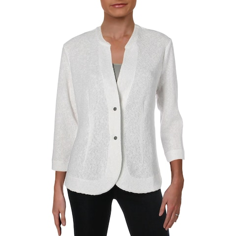 Nic + Zoe Womens Summer Nights Two-Button Blazer Cotton 3/4 Sleeves - M