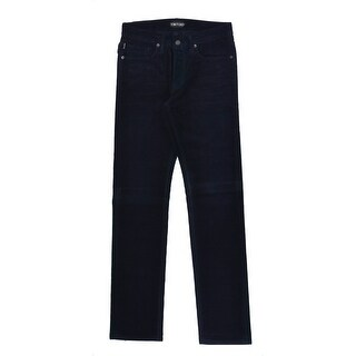 Tom Ford Mens Navy Blue Corduroy Cotton Straight Fit Jeans - 30