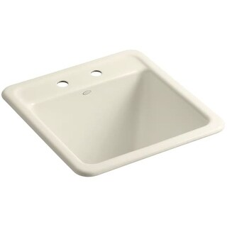 """Kohler K-19022-2 Park Falls 21"""" Single Basin Undermount or Drop In Cast Iron Utility Sink with Two Faucet Holes"""