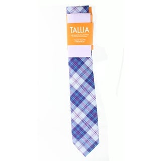 Tallia NEW Lavendar Purple Alexander Plaid Neck Tie & Pocket Square