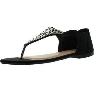 Betani Monica-2 Womens Beauty Thong Flat Sandals - Black