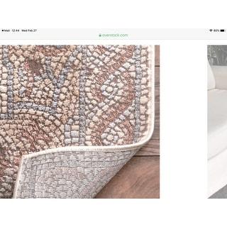 nuLOOM Transitional Vintage Faded Ornamental Athens Mosaic Border Area Rug